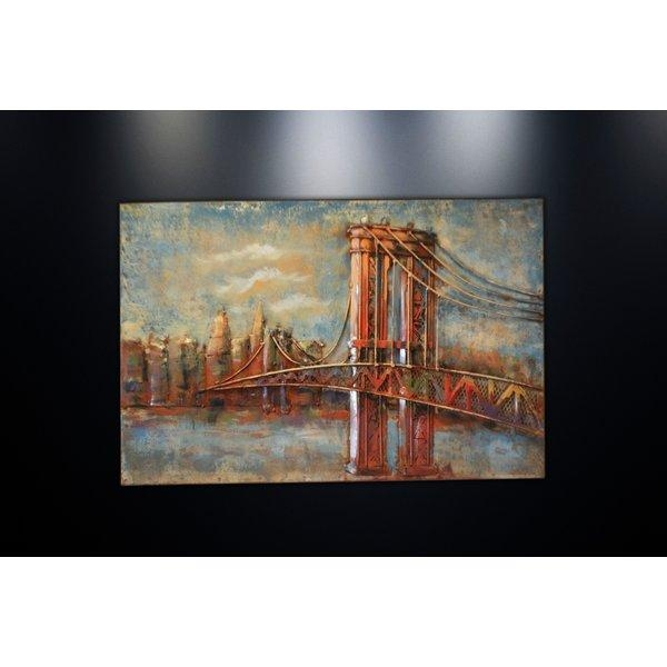 Dsd Group Metal Wall Art Sculpture Home Decor 'brooklyn Bridge Regarding Brooklyn Bridge Wall Decals (Image 8 of 20)