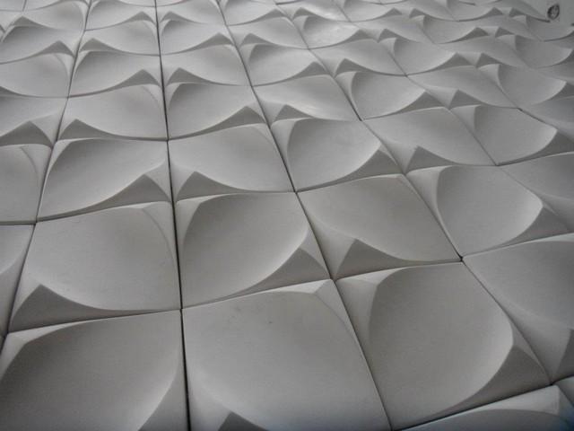 Dune – [Gypsum 3D Wall Art Tiles] – Modern – Fireplace Accessories For White 3D Wall Art (View 11 of 20)