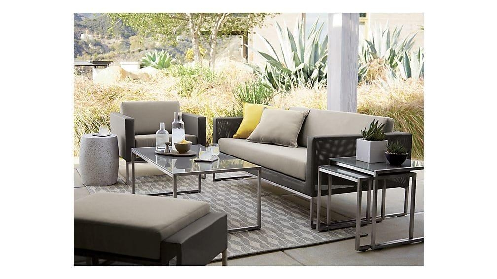 Dune Painted Glass Coffee Table | Crate And Barrel Regarding Crate And Barrel Sofa Tables (Image 12 of 20)