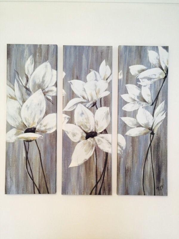 Dunelm 3 Piece Floral Wall Art Canvas Triptych | In Dodworth Pertaining To 3 Piece Floral Canvas Wall Art (Image 13 of 20)