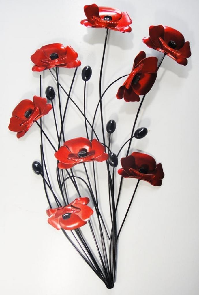 Earth De Fleur Homewares Small Poppy Meadow Scene Metal Wall Art For Red Flower Metal Wall Art (Image 10 of 20)