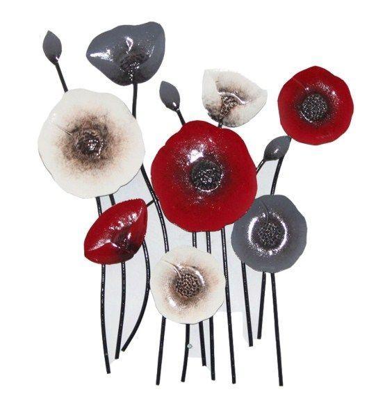 Earth De Fleur Homewares – Small Poppy Meadow Scene Metal Wall Art Intended For Red Flower Metal Wall Art (Image 9 of 20)
