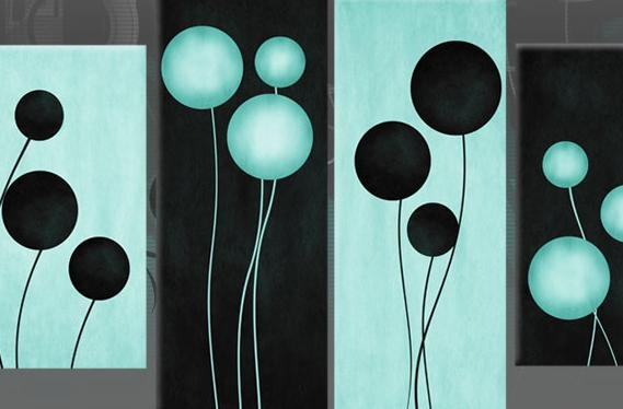 Egg Blue & Black Circles Flower Style Abstract Available As 4 Regarding Duck Egg Blue Wall Art (Image 7 of 20)