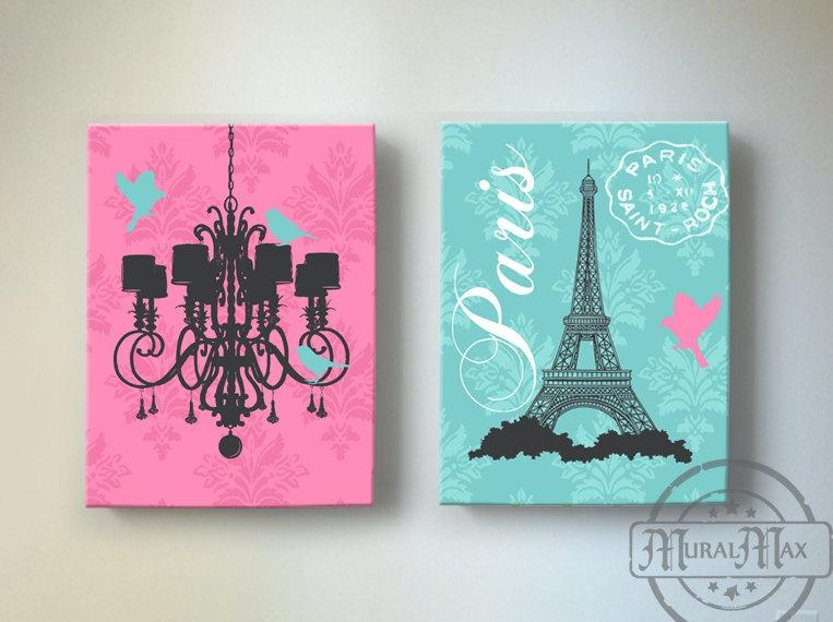 Eiffel Tower Art Paris Bedroom Decorchandelier Girls Room Within Paris Theme Nursery Wall Art (View 15 of 20)