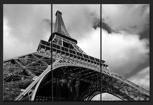 Eiffel Tower In Black And White – Paris Wall Art Triptych – Home With Regard To Black And White Paris Wall Art (View 16 of 20)