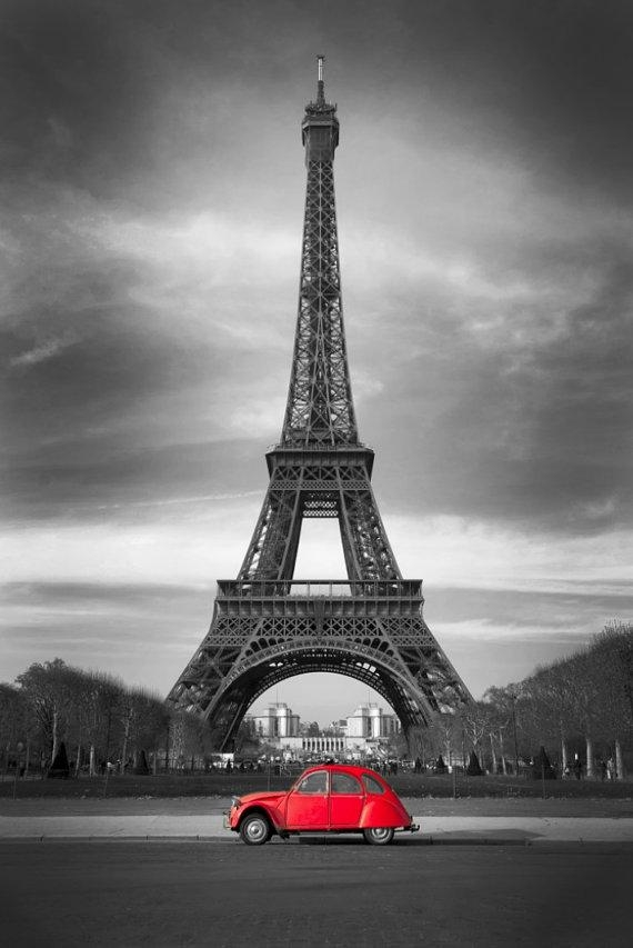 Eiffel Tower Red Car Paris Black White Wall Art Canvas Giclee Within Black And White Paris Wall Art (Photo 1 of 20)
