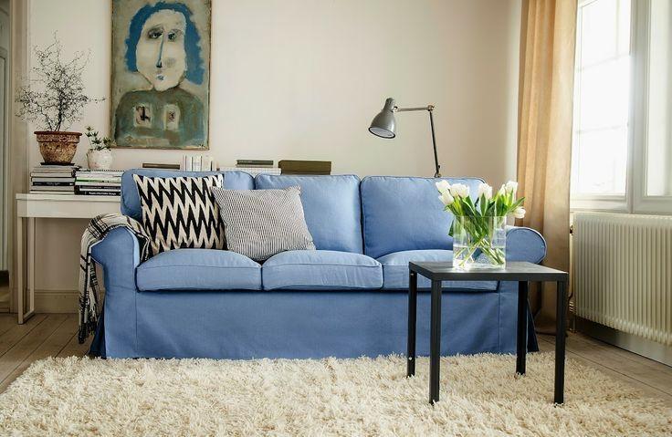 Ektorp, 3 Seater Sofa Cover | Sofa Covers, Linens And Ektorp Sofa Within Blue Denim Sofas (Image 17 of 20)