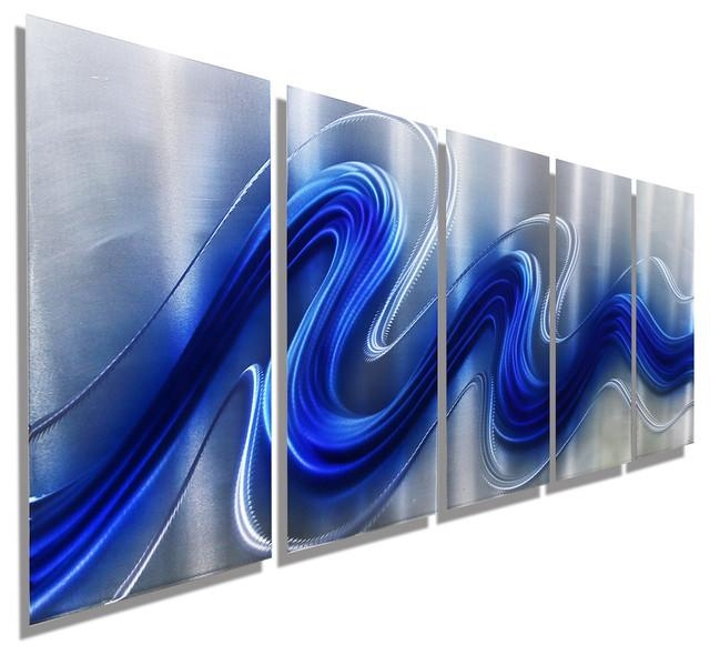 "Electric Blue"" Jewel Tone Blue And Silver Hand Painted Abstract Inside Blue And Silver Wall Art (Image 10 of 20)"