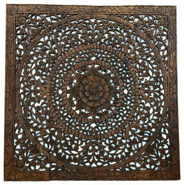 Elegant Asian Carved Wood Floral Wall Art Panel (Image 5 of 20)
