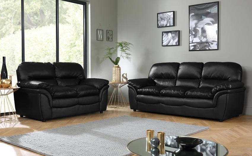 Elegant Black Leather Sofa Sets Tessa Faux And Loveseat Set 24 Inside Black Leather Sofas And Loveseats (Image 10 of 20)