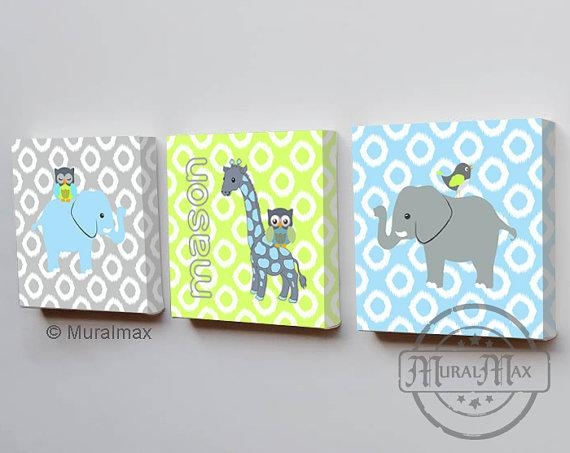 Elephant Nursery Boys Room Decor Three Piece Wall Art With Regard To Nursery Canvas Art (Image 11 of 20)