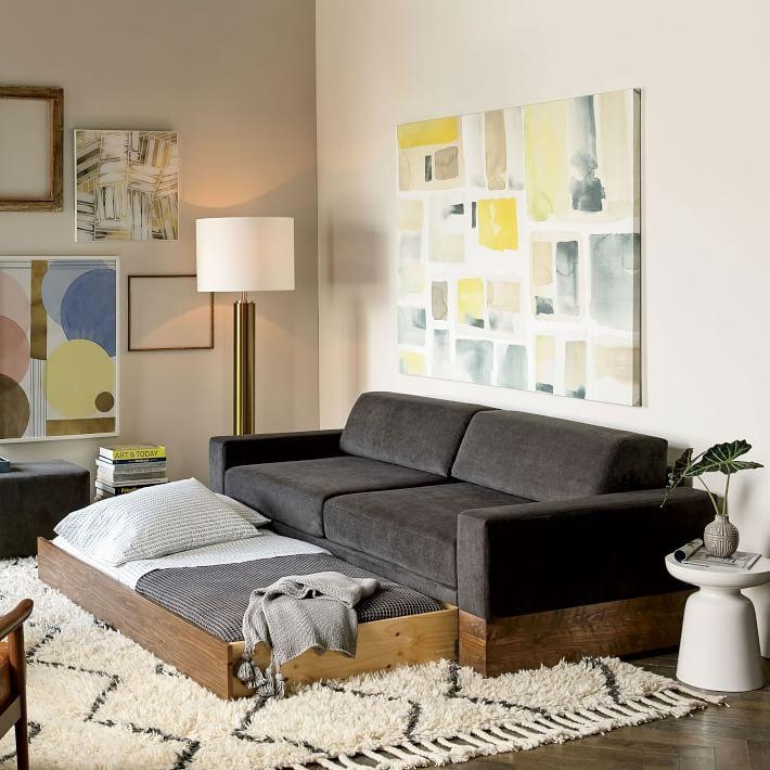 Emery Sofa + Twin Daybed W/ Trundle | West Elm Inside Sofa Beds With Trundle (Image 9 of 20)