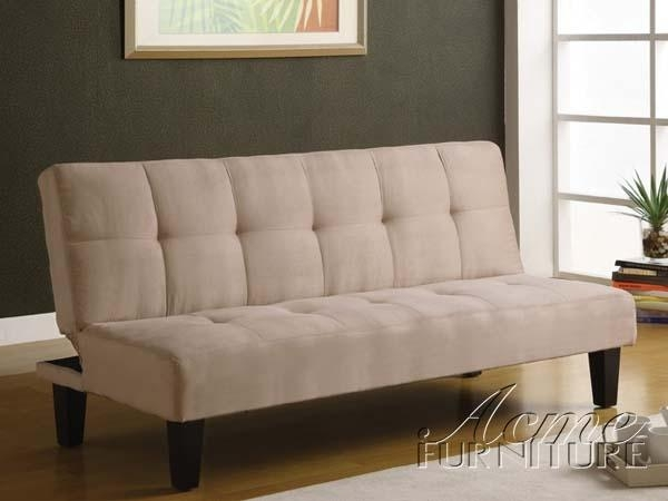 Emmet Beige Microfiber Adjustable Sofa Bedacme – 05673 For Microsuede Sofa Beds (Image 7 of 20)