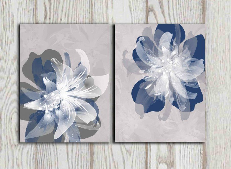 Enchanting Blue Floral Canvas Wall Art Blue Wall Art Blue Wall Inside Duck Egg Blue Wall Art (Image 8 of 20)