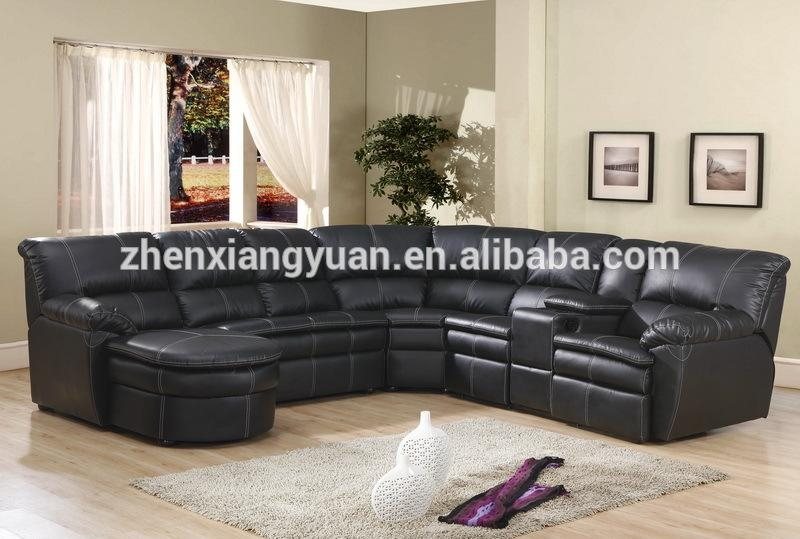 Endearing Black Leather Reclining Sectional Sofa Flexsteel Inside Sofas With Console (Image 5 of 20)