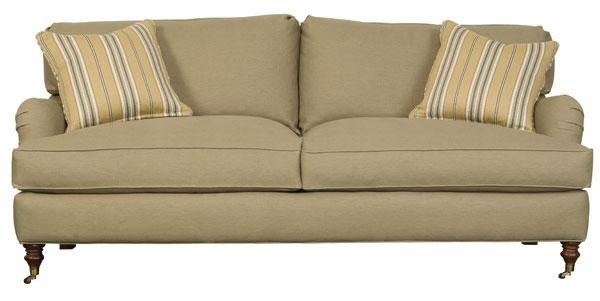 English Arm Upholstered Apartment Sized 2 Cushion Sofa | Club For Casters Sofas (Image 12 of 20)