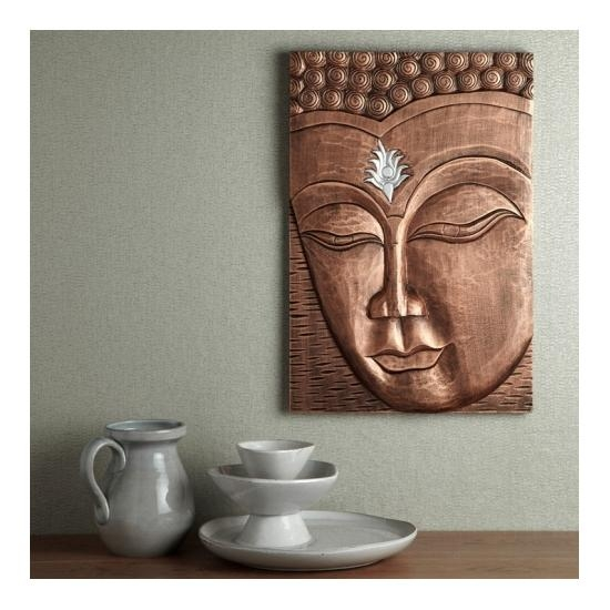 Enlightened Buddha Wall Art In Copper, 008168 17854 Within 3D Buddha Wall Art (Image 6 of 20)