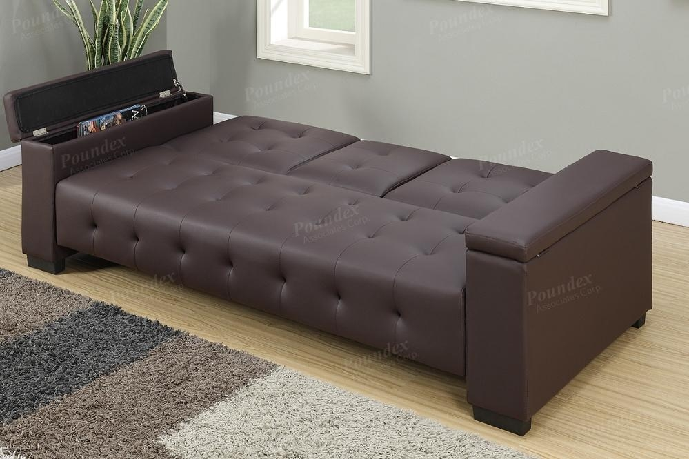 Espresso Faux Leather Square Tufting Adjustable Sofa Futon With Faux Leather Futon Sofas (View 14 of 20)