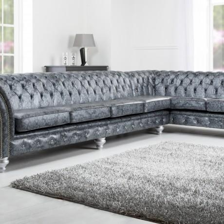 Espresso L Shaped Fabric Tufted Sectional Sofa Design Ideas Come Throughout Silver Tufted Sofas (View 9 of 20)