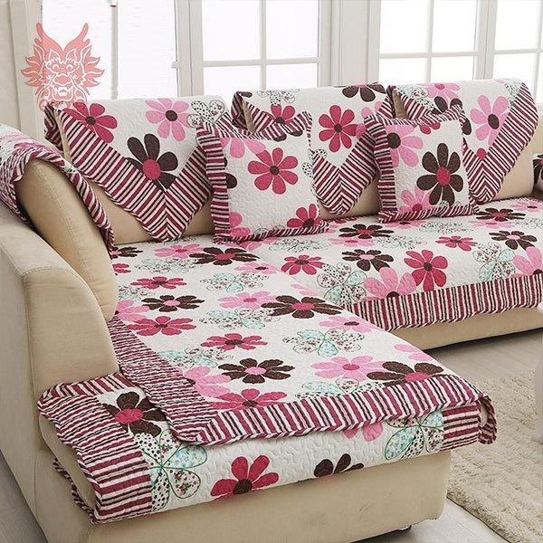 European Style Floral Print Sofa Cover 100%cotton Cloth Quilting Pertaining To Floral Slipcovers (Image 9 of 20)