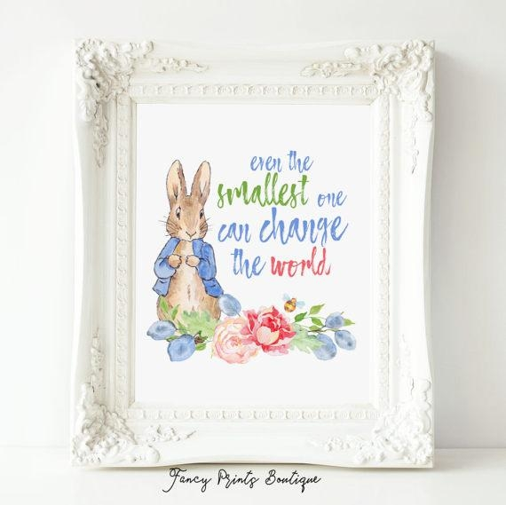 Even The Smallest One Peter Rabbit Nursery Quote Prints Inside Peter Rabbit Wall Art (Image 12 of 20)