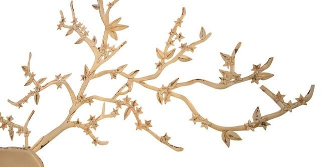 "Extra Large 51"" Tree Branch Metal Wall Art, Cream White Cottage In Cream Metal Wall Art (Image 9 of 20)"