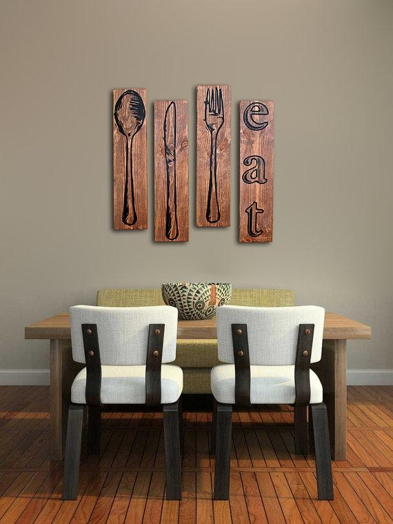 Extra Large Fork Knife And Spoon Wall Art Eat Sign Set On With Regard To Big Spoon And Fork Wall Decor (View 4 of 20)