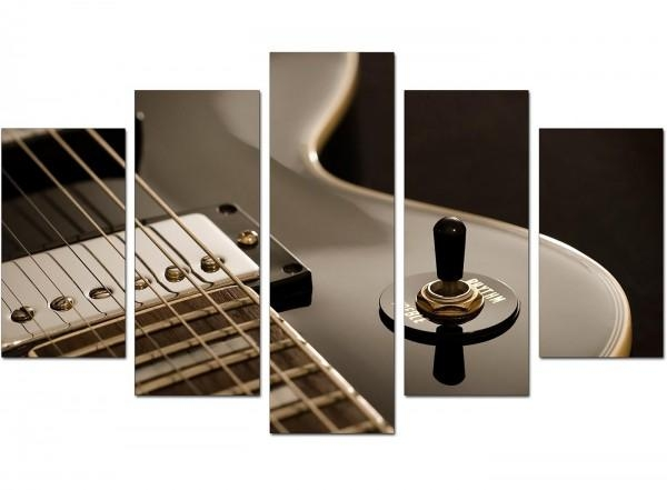 Extra Large Guitar Canvas Prints Uk 5 Piece In Black & White Intended For Guitar Canvas Wall Art (View 5 of 20)