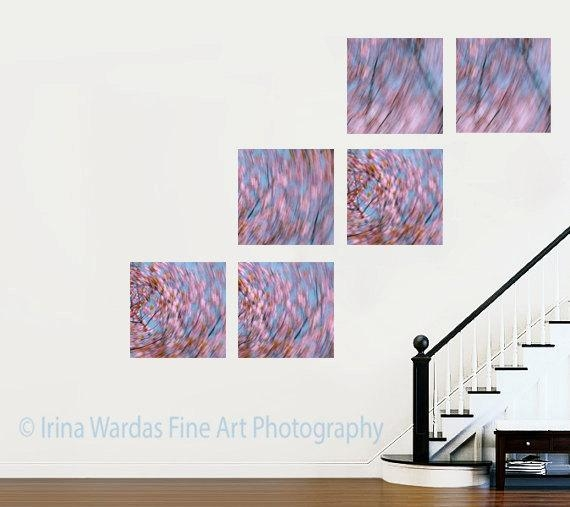 Extra Large Set Of 6 Canvas Panel Wall Art| Pink Peach Cherry Blossoms Throughout 4 Piece Wall Art (Image 13 of 20)
