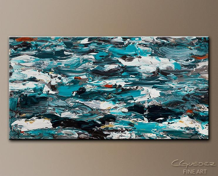 Extra Large Wall Art Aquamarine Adventure – Oversized Abstract Art For Turquoise And Brown Wall Art (Photo 15 of 20)