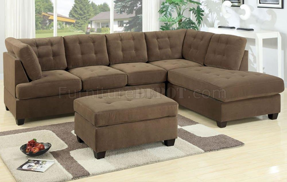 F7140 Reversible Tufted Sectional Sofa In Truffle Suedepoundex Pertaining To Poundex Sofas (Image 2 of 20)