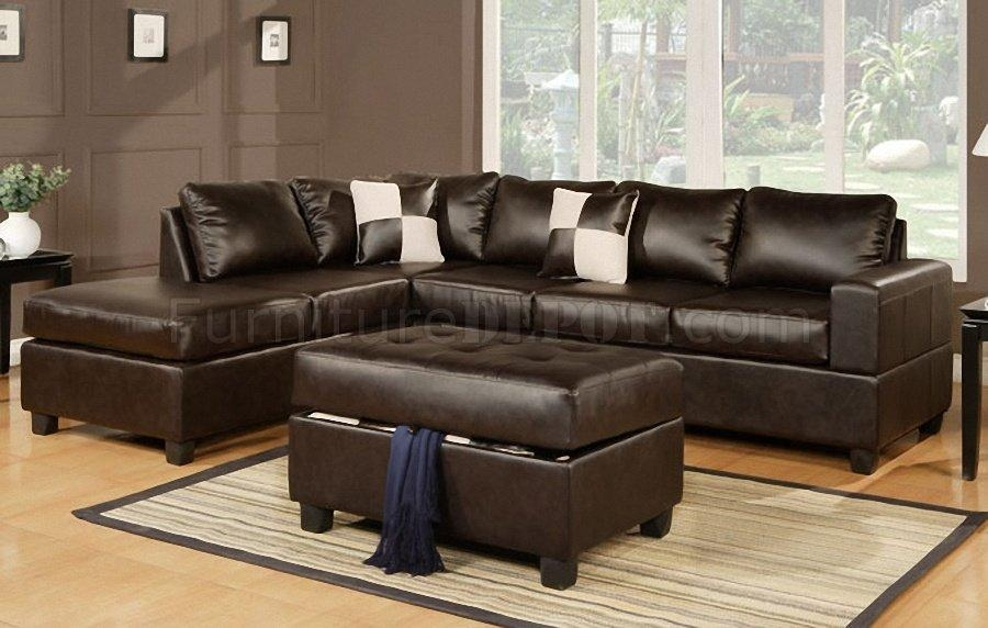 F7351 Sectional Sofa In Espresso Bonded Leatherpoundex With Poundex Sofas (View 7 of 20)