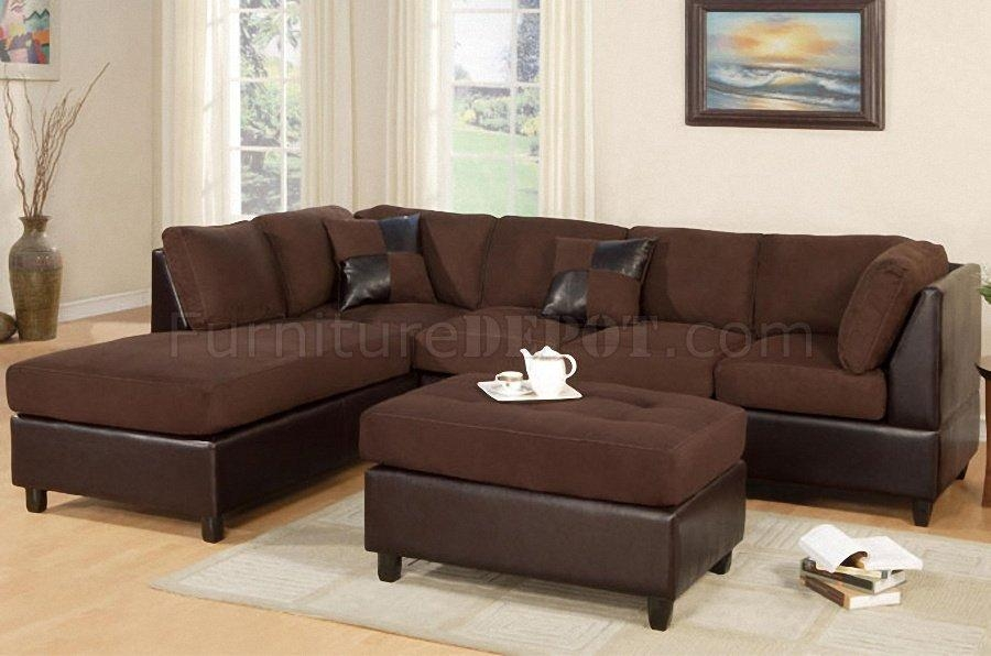 F7615 Poundex Chocolate Microfiber Sectional Sofa W/ottoman Intended For Microfiber Sectional Sofas (View 10 of 20)