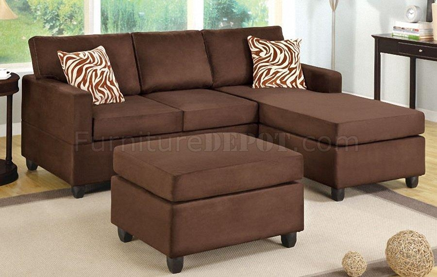 F7661 Small Sectional Sofa In Chocolate Microfiberpoundex With Poundex Sofas (View 8 of 20)