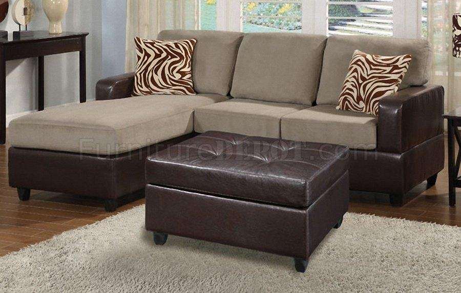 F7669 Poundex Pebble Microfiber & Faux Leather Small Sofa Ottoman In Poundex Sofas (View 16 of 20)