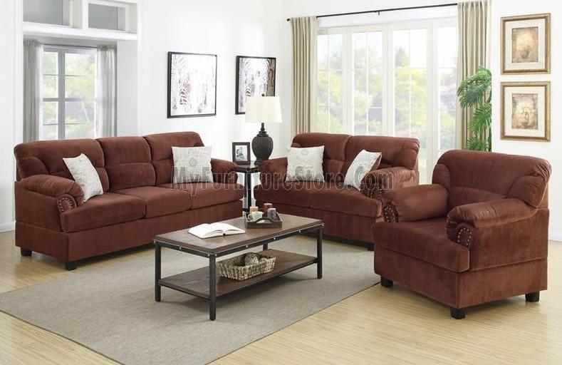 F7915 3 Pcs Sofa Set Bobkona Furniturepoundex In Poundex Sofas (View 18 of 20)