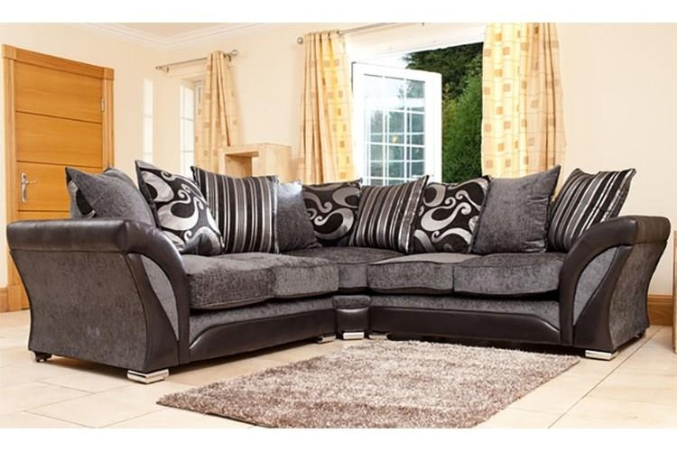 Fabric Black & Grey Corner Sofa Throughout Black Corner Sofas (View 8 of 20)