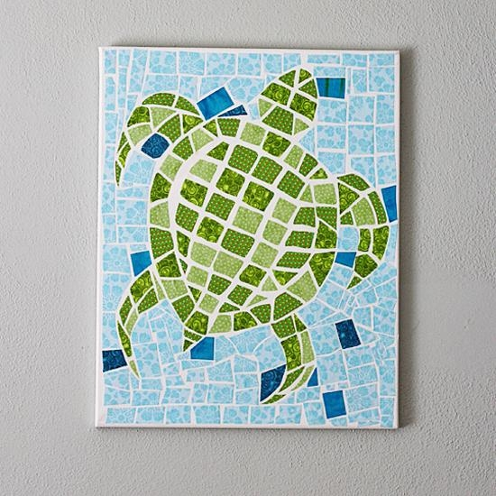 Fabric Canvas Mosaic Turtle Wall Art – Inspiration Diy In Fabric Canvas Wall Art (View 18 of 20)