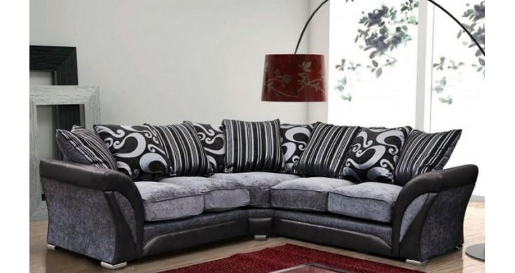 Fabric Corner Sofa Black & Grey Throughout Black Corner Sofas (View 4 of 20)