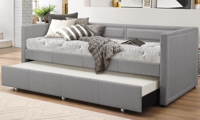 Fabric Nailhead Trim Sofa Daybed | Groupon Goods Pertaining To Sofa Beds With Trundle (Image 11 of 20)
