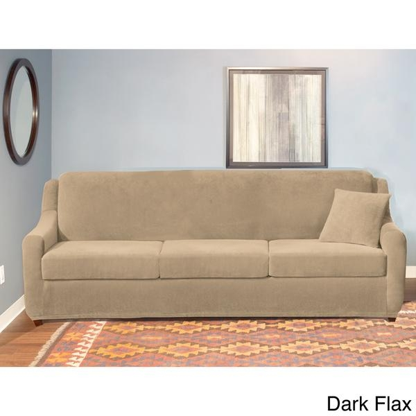 Fabulous Sure Fit Sleeper Sofa Slipcover Taupe Sure Fit Slipcovers Pertaining To Slipcovers For 3 Cushion Sofas (Image 4 of 20)