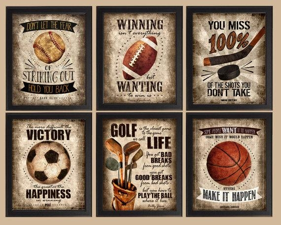 Famous Sports Quotes Set Of 6 Photo Prints Poster Wall Intended For Vintage Baseball Wall Art (Image 14 of 20)