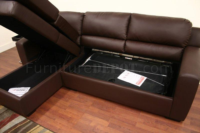 Faux Leather Convertible Sofa Bed Sectional Soren Brown Regarding Faux Leather Sleeper Sofas (View 7 of 20)