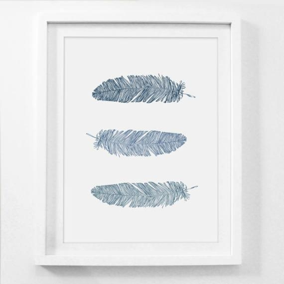 Feather Wall Art Navy Blue Wall Art Blue Prints Feather With Dark Blue Wall Art (Image 17 of 20)