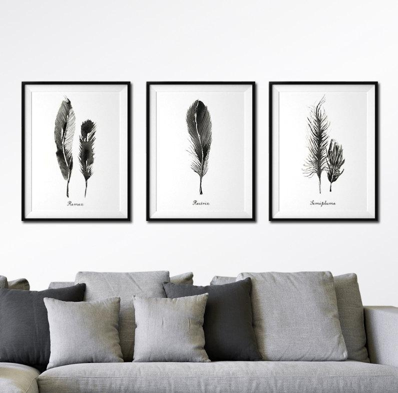 Feather Watercolor Art Set Of 3 Feather Print Black And With Regard To Black And White Wall Art Sets (Image 10 of 20)