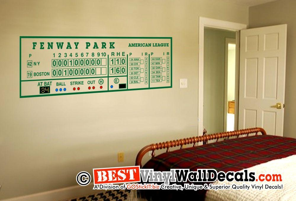 Fenway Park Scoreboard Green Monster – Bestvinylwallart Intended For Red Sox Wall Decals (View 8 of 20)