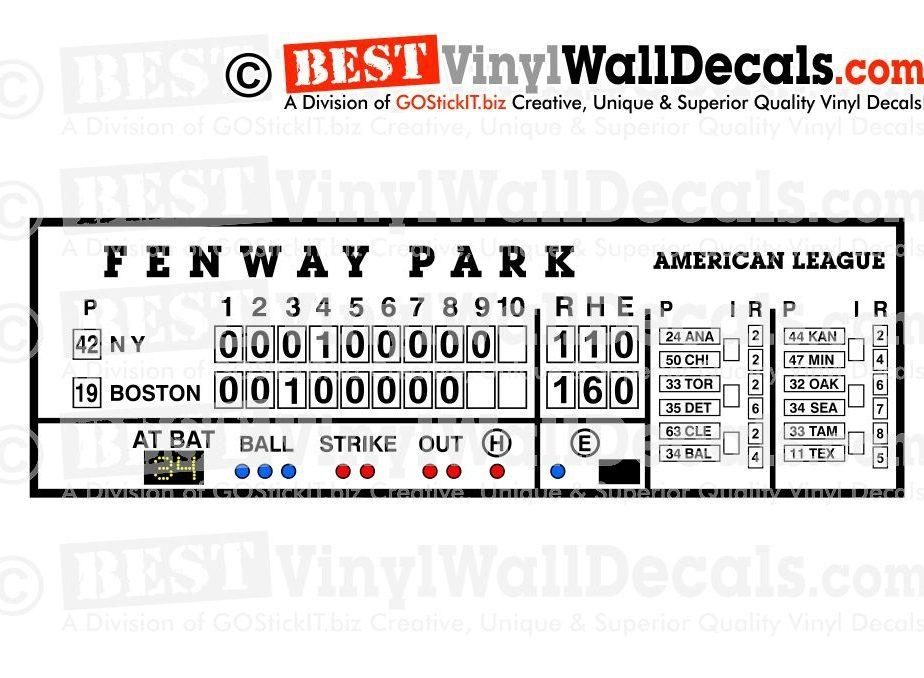 Fenway Park Scoreboard Green Monster – Bestvinylwallart With Red Sox Wall Decals (View 6 of 20)