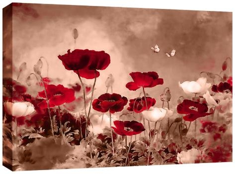 Field Poppies Red On Sepia Canvas Wall Art Picture 30X20 77Cm For Red Poppy Canvas Wall Art (Image 7 of 20)