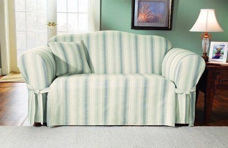 Finally! Organic Cotton Slipcovers From Surefit : Treehugger For Striped Sofa Slipcovers (View 3 of 20)