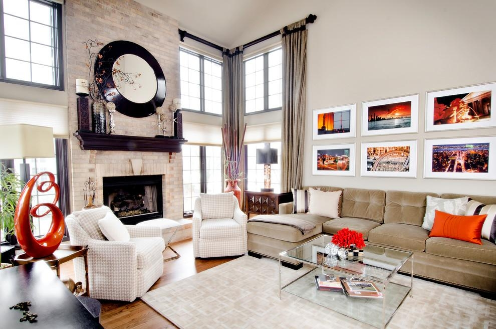 Fireplace Mantel Ideas Living Room Transitional With Framed Wall In Fireplace Wall Art (Image 8 of 20)